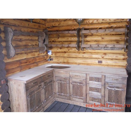 """Кухня под старину из массива дерева """"Смеда"""""""