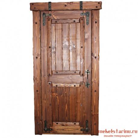 входная состаренная двери из массива сосны