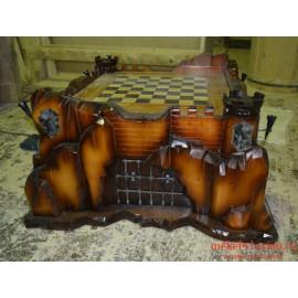 """Шахматный стол """"Крепость"""" ручной работы"""