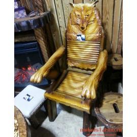 """Кресло резное из дерева """"Волк"""" ручная работа"""