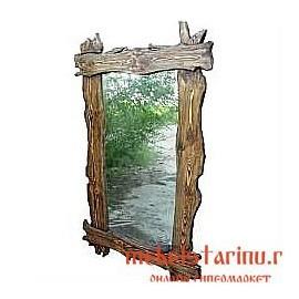 "Зеркало под старину из массива дерева ""Бунко"""