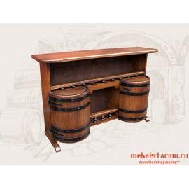 Тумба-бар с двумя бочками под старину из массива сосны/дуба