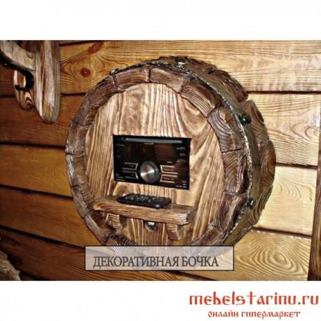"""Декоративная бочка музыкальный центр под старину из массива дерева """"Лаза"""""""