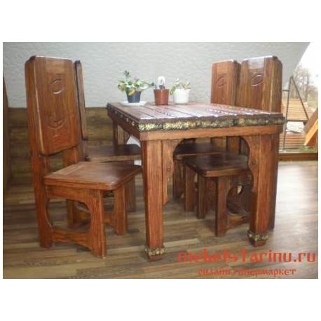 """Столовый комплект под старину из массива дерева """"Борай"""""""