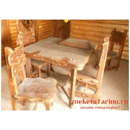 """Столовый комплект под старину из массива дерева """"Борил"""""""