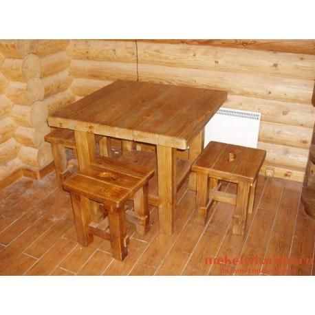 """Столовый комплект под старину из массива дерева """"Братомил"""""""