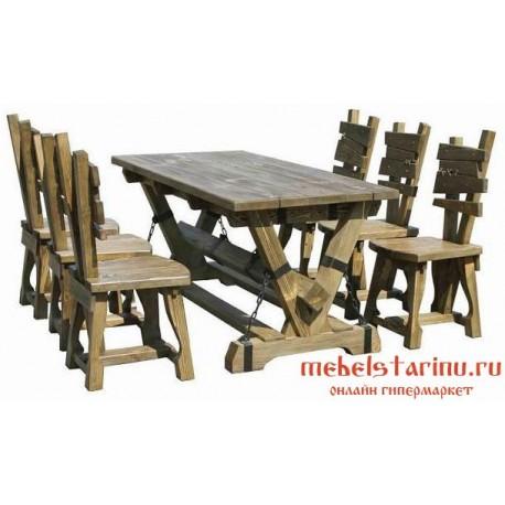 """Столовый комплект под старину из массива дерева """"Вышебор"""""""