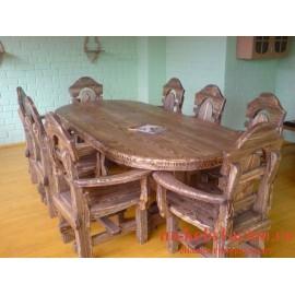 """Столовый комплект под старину из массива дерева """"Голован"""""""